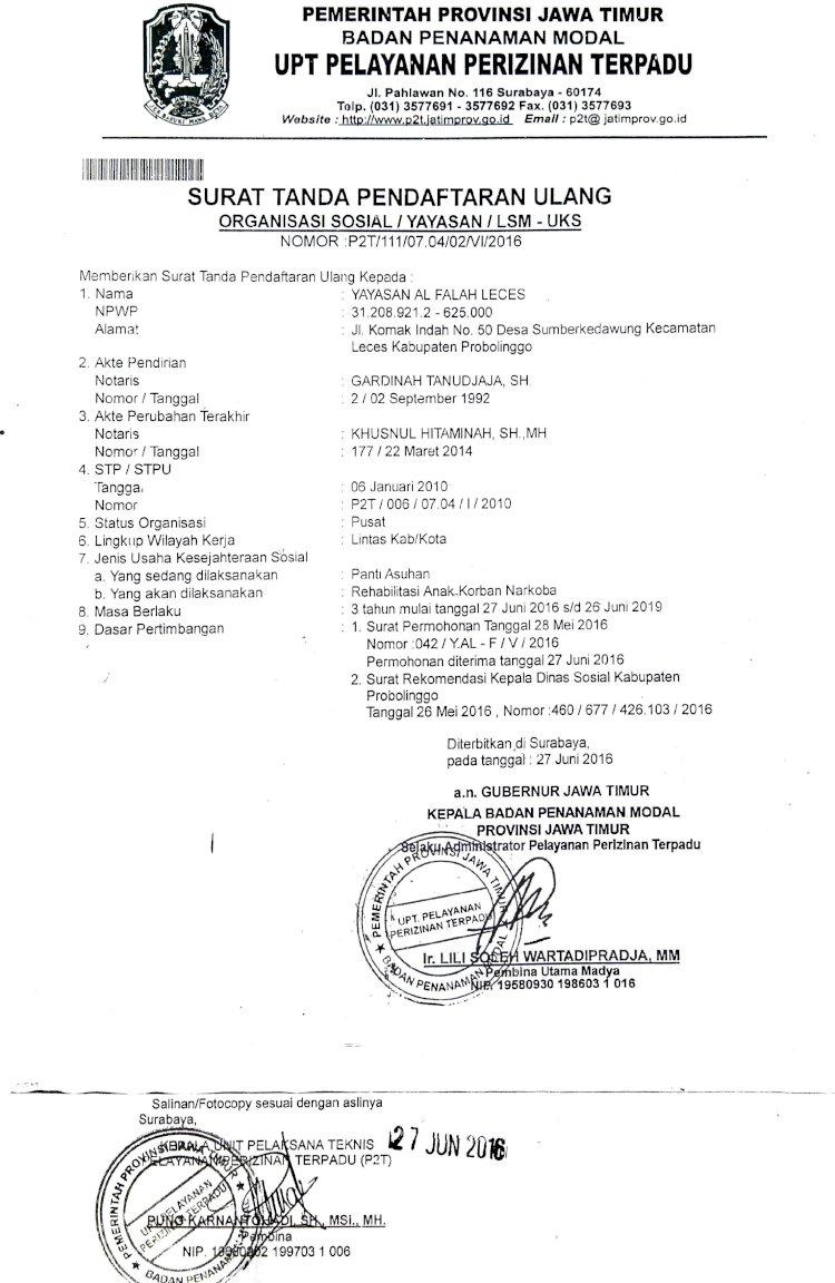 Surat Ijin Yayasan